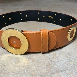 Escada Monogram Belt Wide Tan Gold Grommets 38